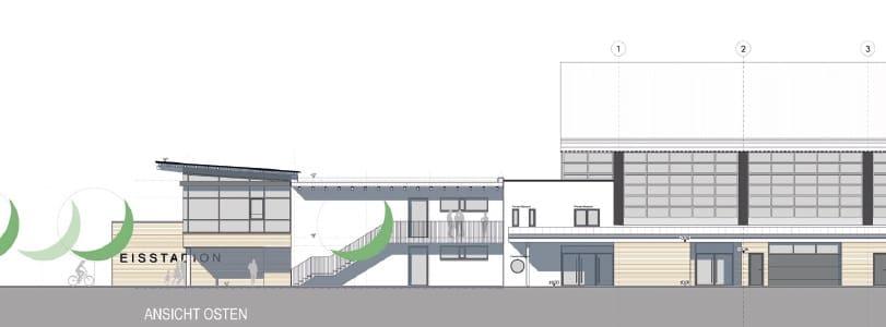 Eisstadion Deggendorf Bauphase Ansicht Osten Zeichnung