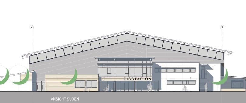 Eisstadion Deggendorf Bauphase Ansicht Süd Zeichnung