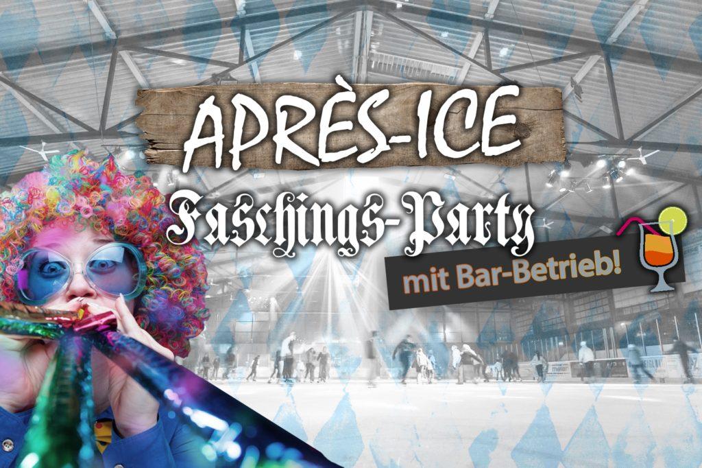 Blick auf die Eisfläche im Eisstadion Deggendorf beim Discoeislauf. Holzbrett mit Schriftzug Apres-Ice und einer kostümierten Dame mit Perücke, Brille und Faschings-Tröten
